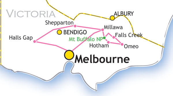 Vic Alps + Grampians map
